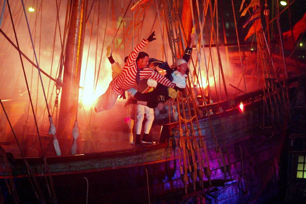 A Pirate show cast members takes their last dive of the of the British ship before thousands of ...