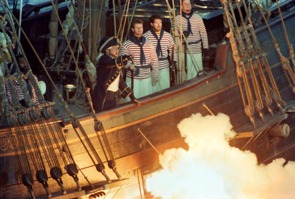Cannons blasted during the free performance before thousands at Buccaneer Bay outside Treasure ...