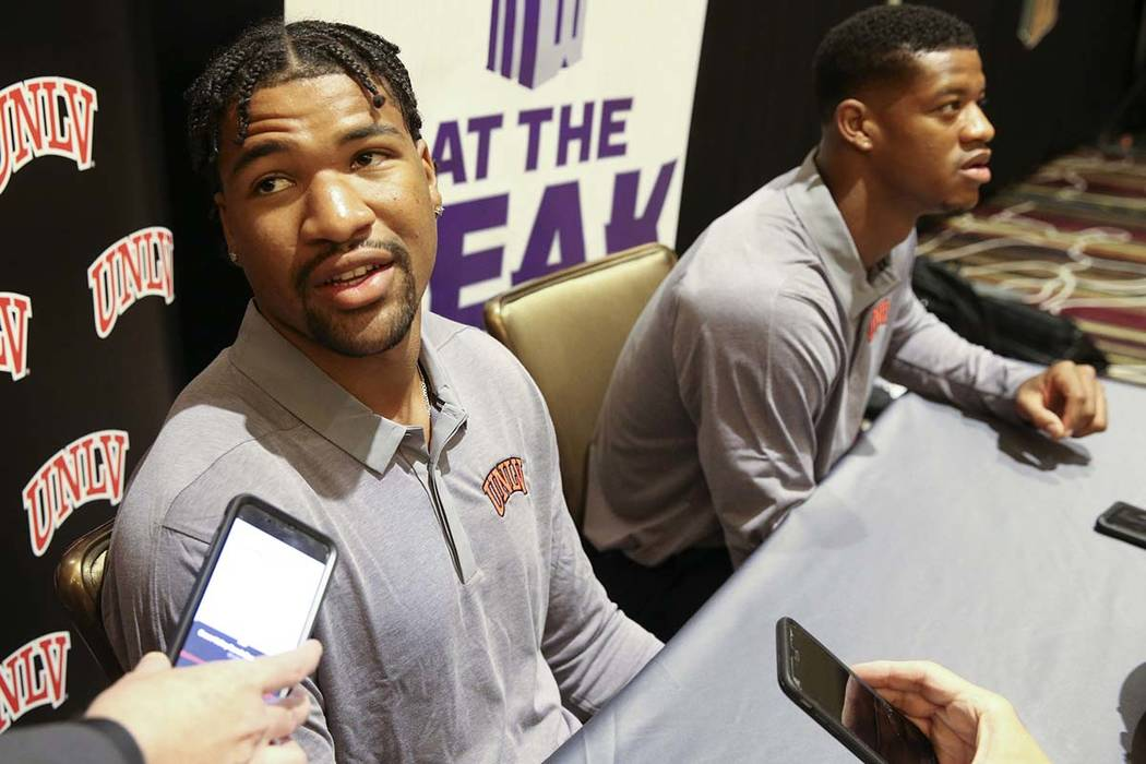 UNLV quarterback Armani Rogers, talks to reporters during Mountain West football media days at ...
