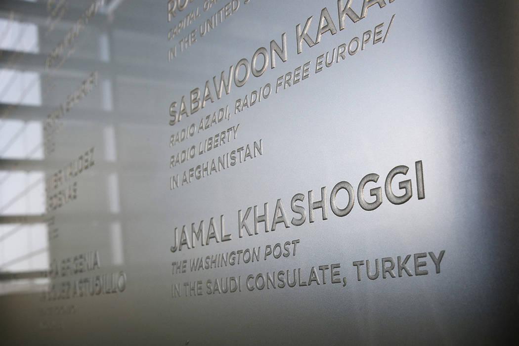 The name of Washington Post columnist Jamal Khashoggi, who was killed inside the Saudi Consulat ...