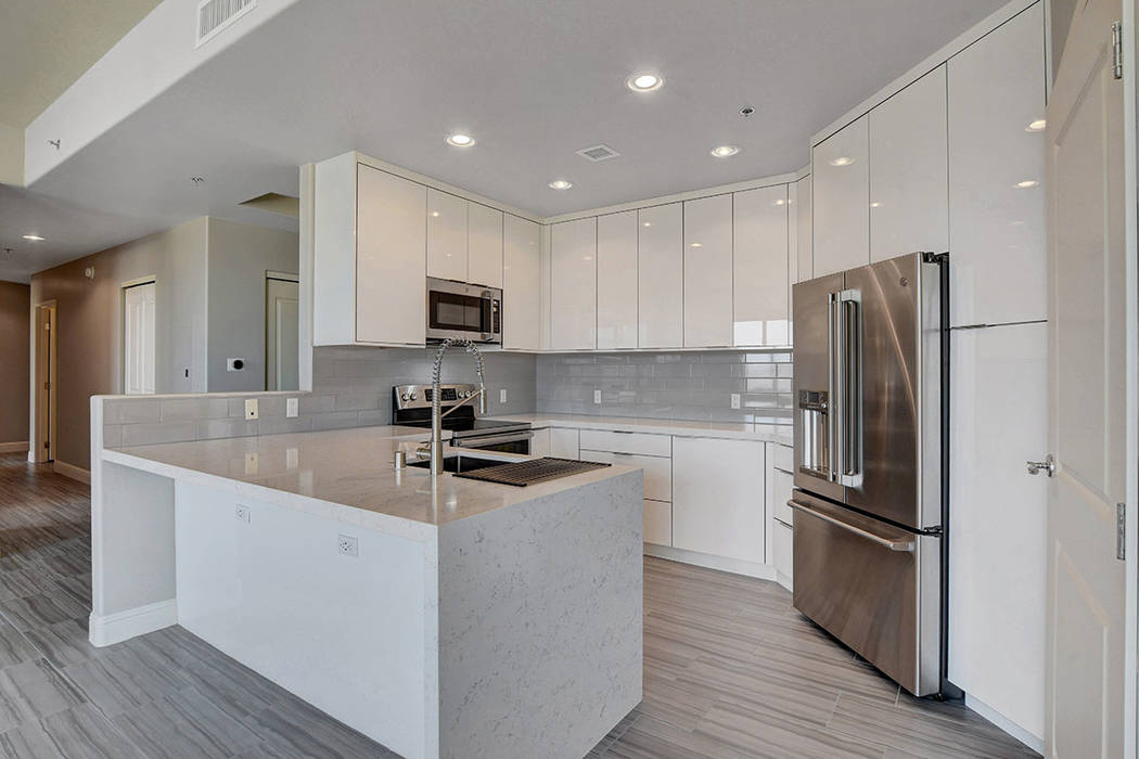 Residence No. 1919 at One Las Vegas features a kitchen with upgraded appliances. (One Las Vegas)
