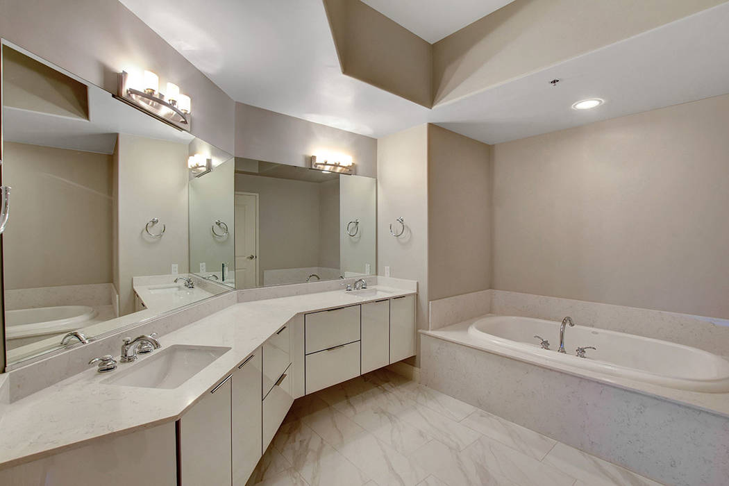 Residence No. 1919 at One Las Vegas features a luxury master bath. (One Las Vegas)
