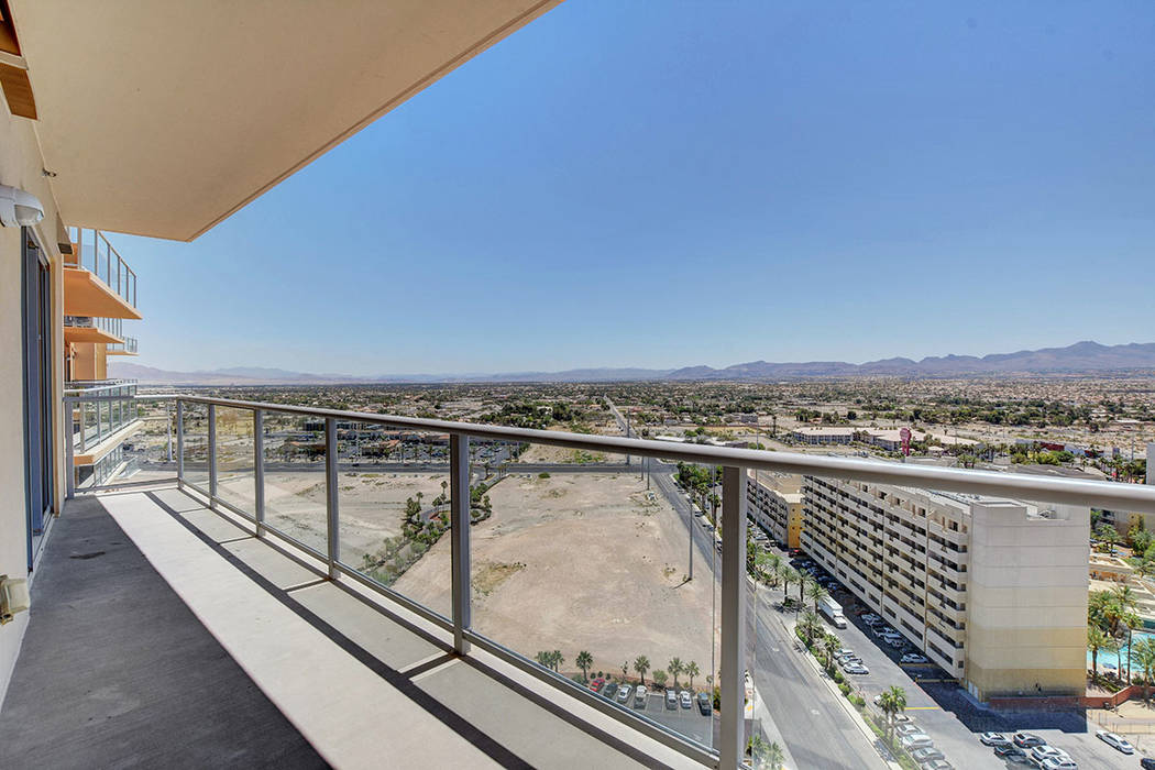One Las Vegas on Las Vegas Boulevard has views of the desert mountains. (One Las Vegas)
