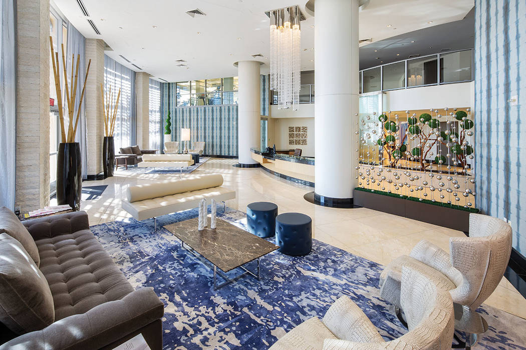 One Las Vegas on Las Vegas Boulevard has a lobby with a hip, cool vibe. (One Las Vegas)