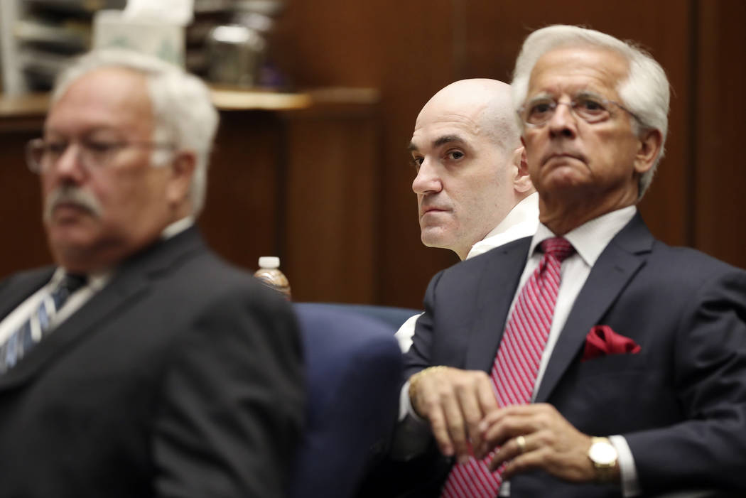 Michael Gargiulo, center, sits in front of his attorneys, Daniel Nardoni, right, and Dale Rubin ...