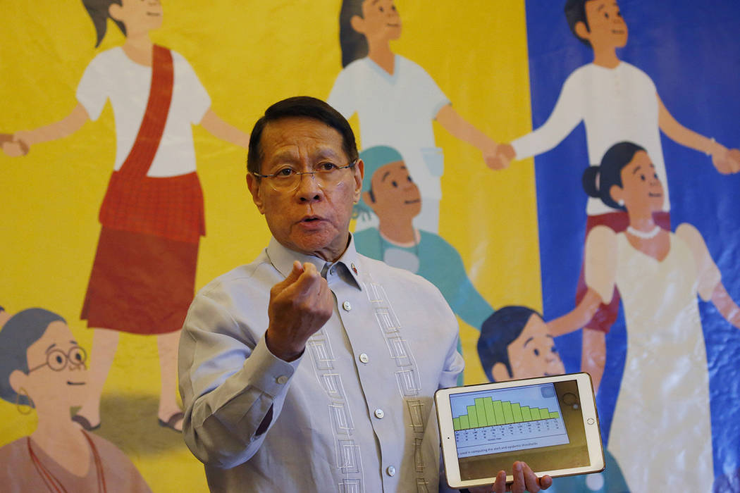 FILE - In this April 30, 2019 file photo, Philippine Health Secretary Dr. Francisco Duque III d ...