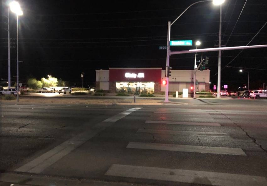 Henderson police shot a man as he tried to flee after a robbery was reported at a 7-Eleven at B ...