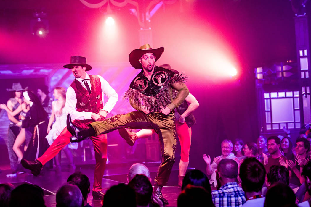 """Colin Cahill as Blue Jackson starts the party in the brothel in """"Atomic Saloon Show"""" at Edinbur ..."""
