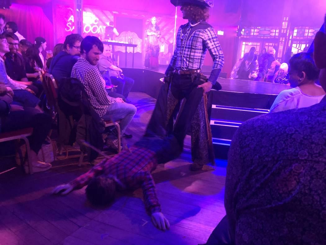 "Cowboy down: A scene from ""Atomic Saloon Show"" at Edinburgh Festival Fringe on Aug. 6, 2019. (J ..."