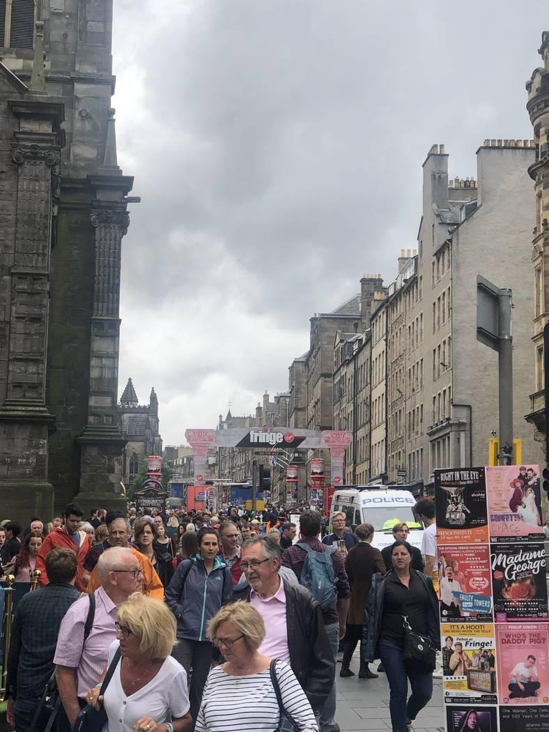 A scene outside Edinburgh Festival Fringe on Aug. 6, 2019. (John Katsilometes/Las Vegas Review ...