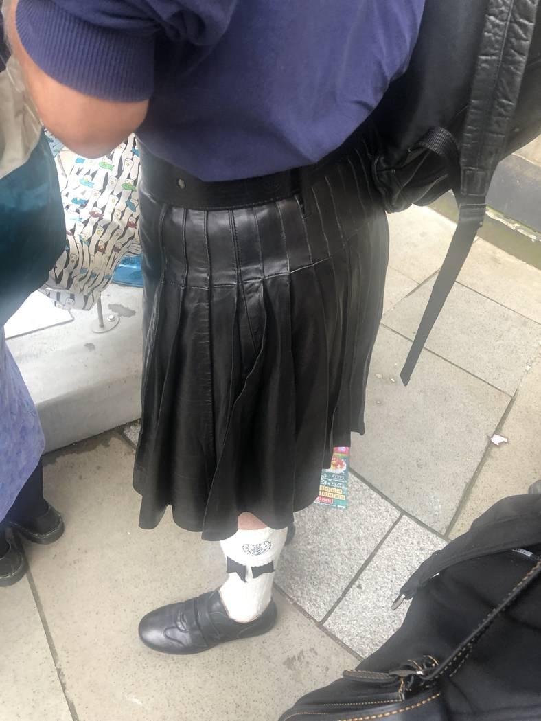 Leather-kilt action while on line at Edinburgh Festival Fringe on Aug. 6, 2019. (John Katsilome ...