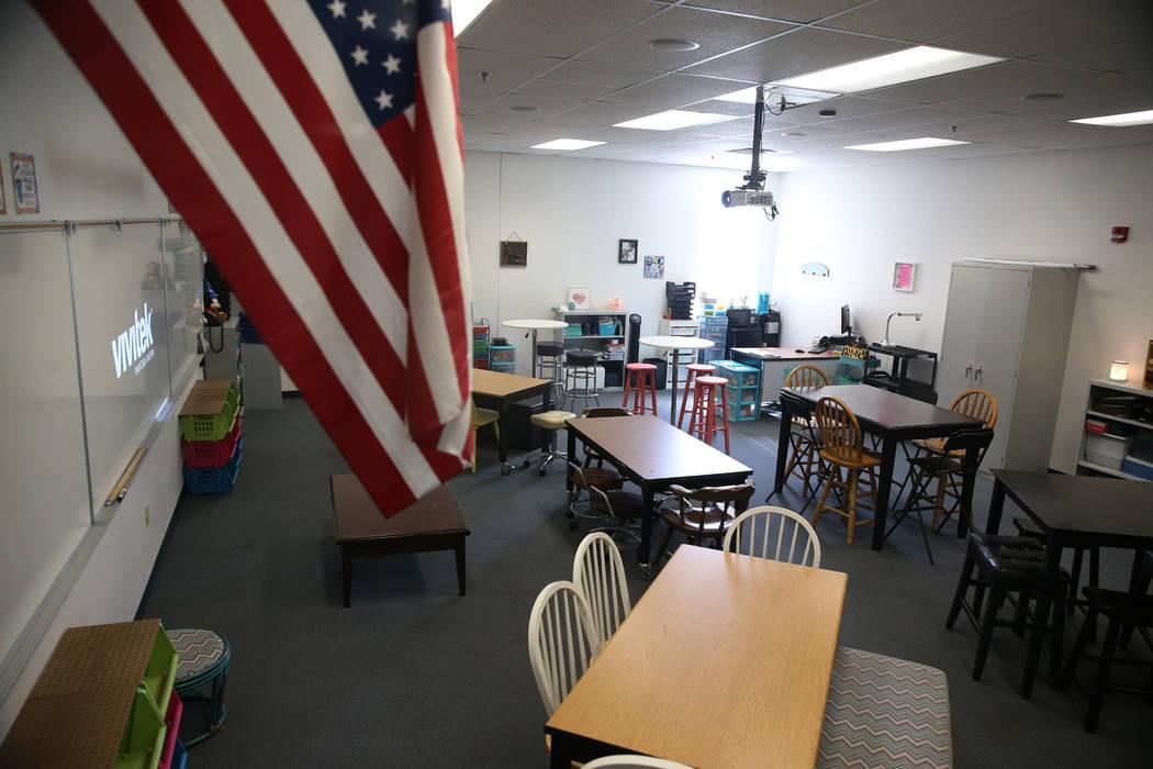 A classroom at Mack Middle School in Las Vegas, Wednesday, Aug. 7, 2019. (Erik Verduzco / Las V ...