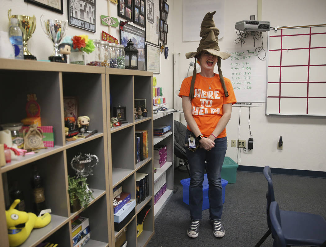 Eighth-grade math teacher Alexandra Kenney gives a tour of her Harry Potter-themed classroom at ...
