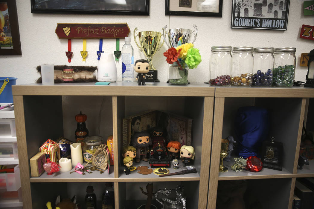 The Harry Potter-themed classroom of eighth-grade math teacher Alexandra Kenney at Mack Middle ...