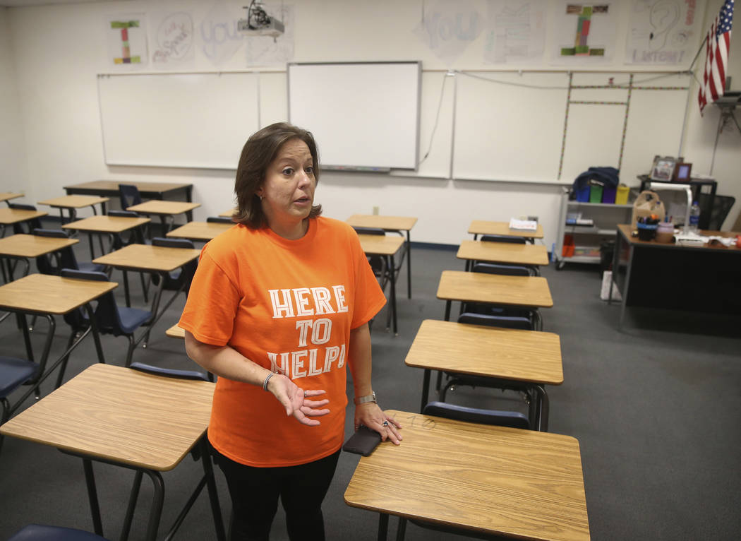 Sixth-grade teacher Carie Goldberg talks about the lack of school supplies and funds to buy the ...