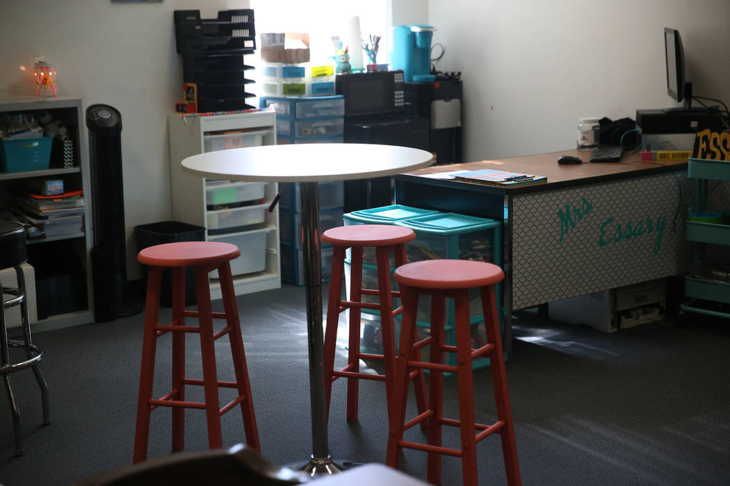 The classroom of math teacher Jana Essary at Mack Middle School in Las Vegas, Wednesday, Aug. 7 ...