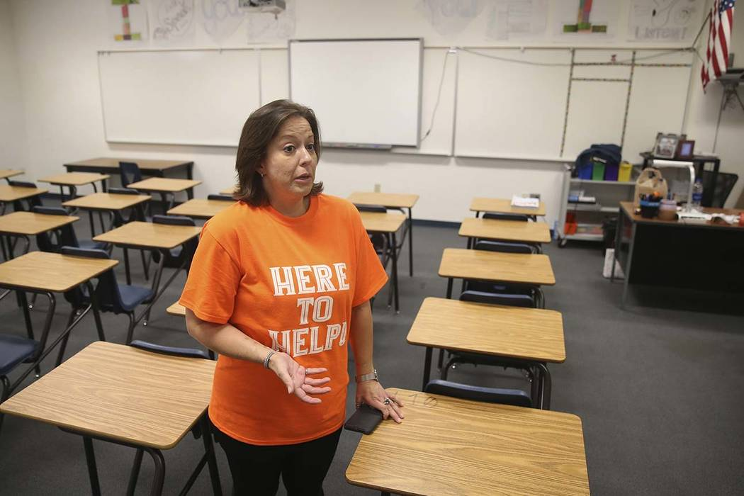 Sixth grade teacher Carie Goldberg talks about the lack of school supplies and funds to buy the ...