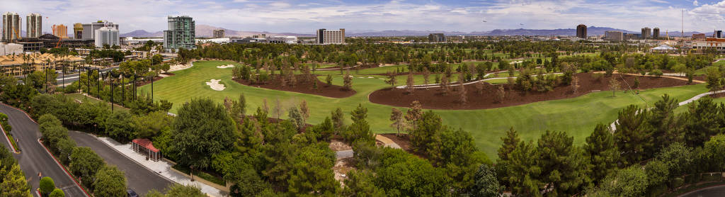 Wynn Golf Club is pictured from a parking garage on Tuesday, July 30, 2019, in Las Vegas. The n ...