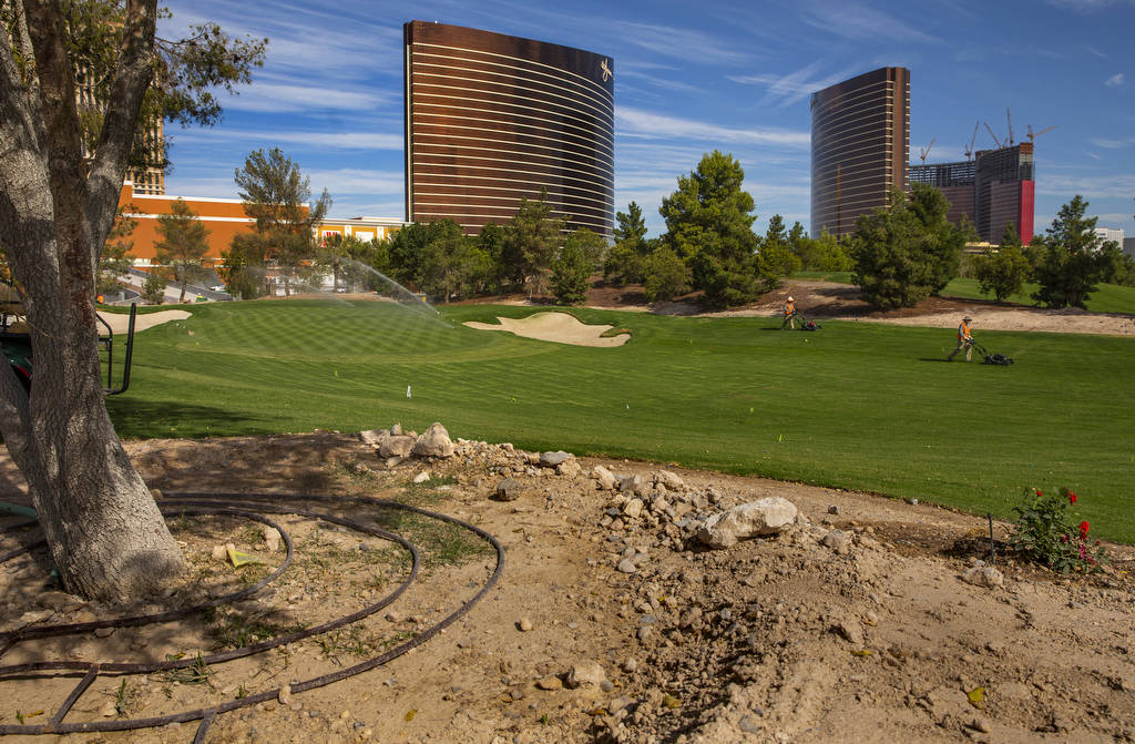 A view of the 17th green at Wynn Golf Club on Tuesday, July 30, 2019, in Las Vegas. The newly d ...