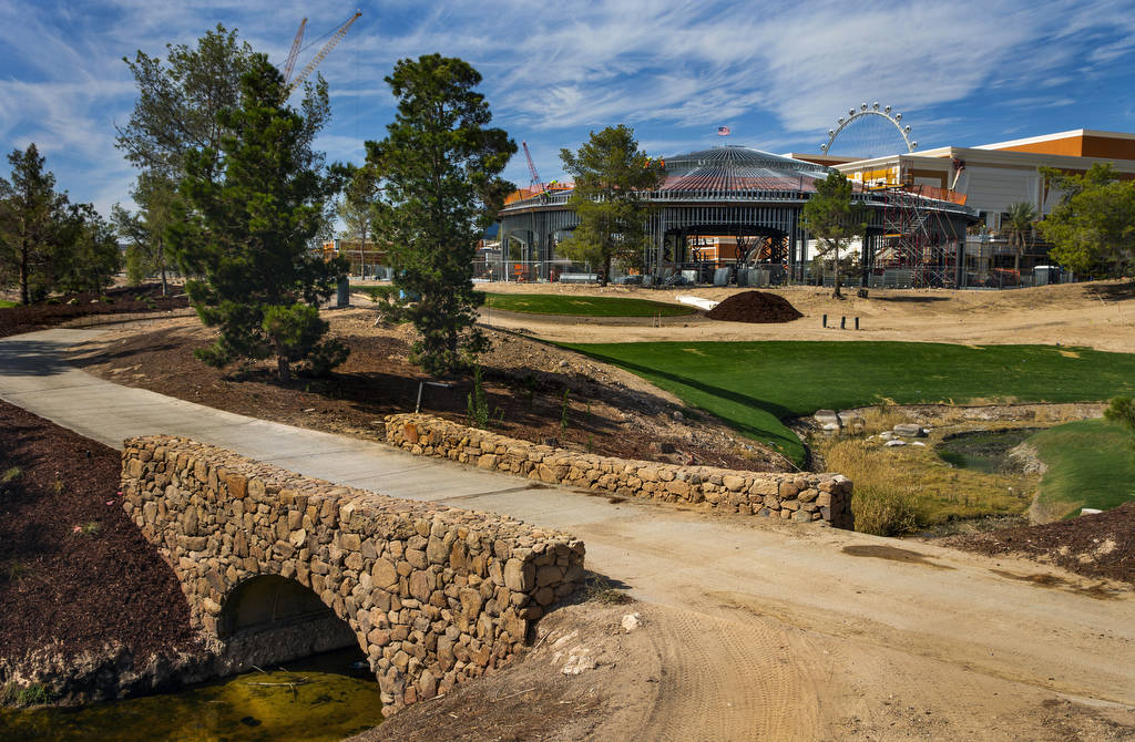 New bridges and cart paths are pictured at Wynn Golf Club on Tuesday, July 30, 2019, in Las Veg ...