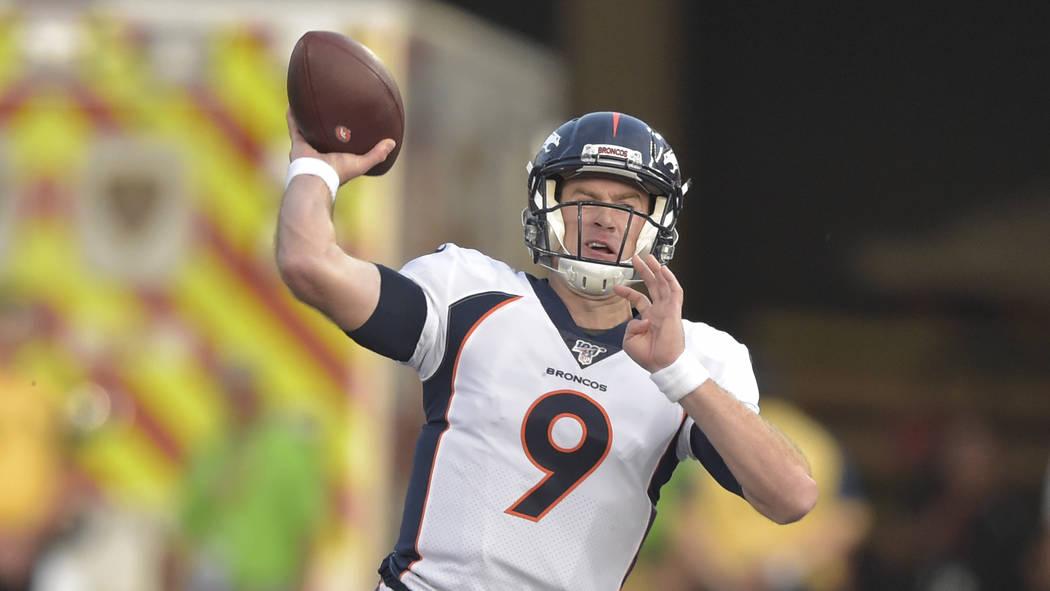 Denver Broncos quarterback Kevin Hogan throws a pass against the Atlanta Falcons during the fir ...