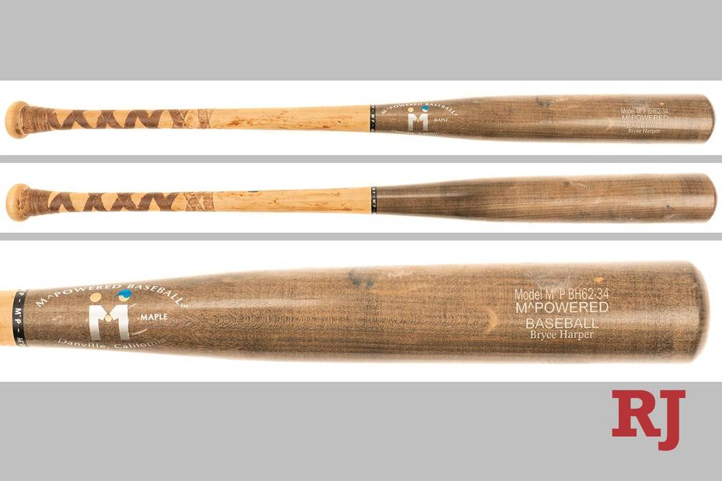 A bat used by Bryce Harper during his career at Las Vegas High School is up for auction. (Rober ...