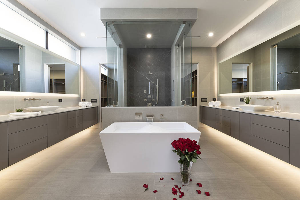 The master bathroom has a soaking tub. (Synergy|Sotheby's International Realty)