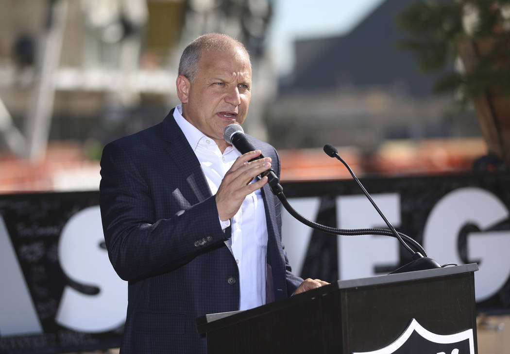Raiders President Marc Badain speaks during the Las Vegas Stadium Topping Out Ceremony on Aug. ...