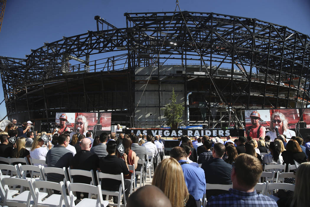 U.S. Rep. Dina Titus, D-Nev., speaks during the Las Vegas Stadium Topping Out Ceremony in Las V ...