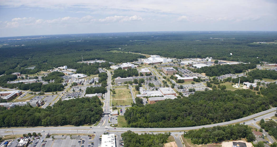 An aerial view shows NASA's Goddard Space Flight Center in Greenbelt, Maryland, in 2010. (Bill ...
