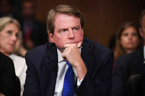 FILE - In this Sept. 27, 2018, file photo, then-White House counsel Don McGahn listens as Supre ...