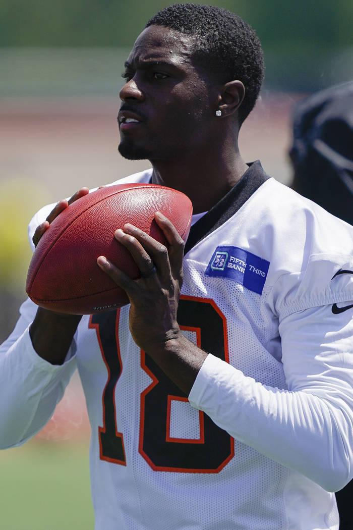 Cincinnati Bengals wide receiver A.J. Green (18) catches a pass before practice on the first da ...
