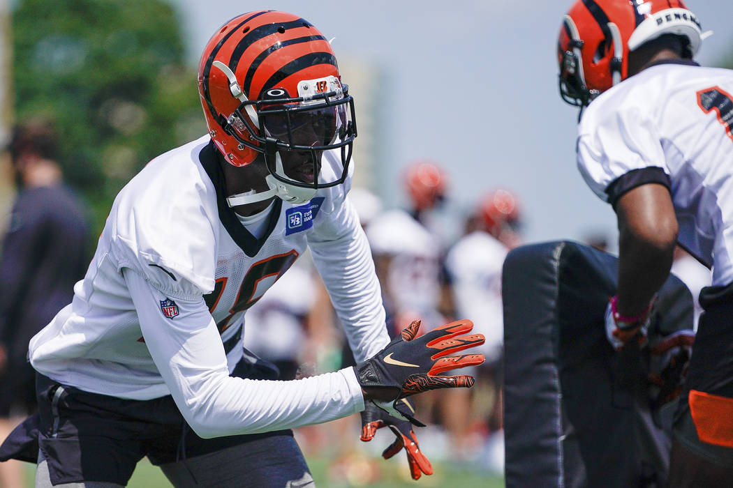 Cincinnati Bengals wide receiver A.J. Green (18) works out during the first day of NFL football ...