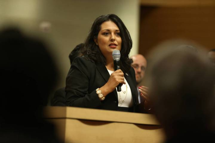 New Councilwoman Olivia Diaz gives a speech after getting sworn into office at Las Vegas City H ...