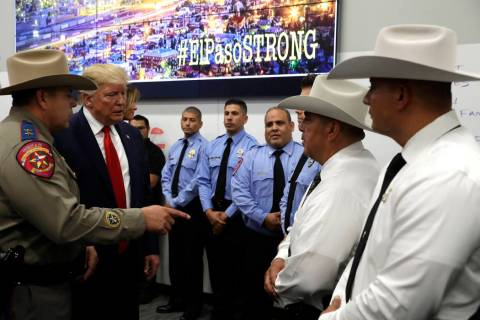 President Donald Trump speaks to first responders as he visits the El Paso Regional Communicati ...