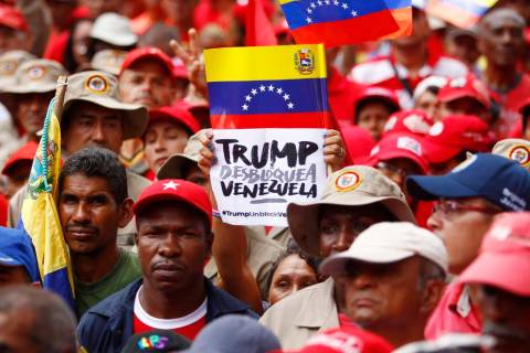Members of the Bolivarian militia attend a protest against U.S. sanctions on Venezuela, in Cara ...