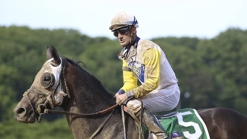Jockey Julien Leparoux rides Tale of Silence (5) in race 9 during the 151st running of the Belm ...