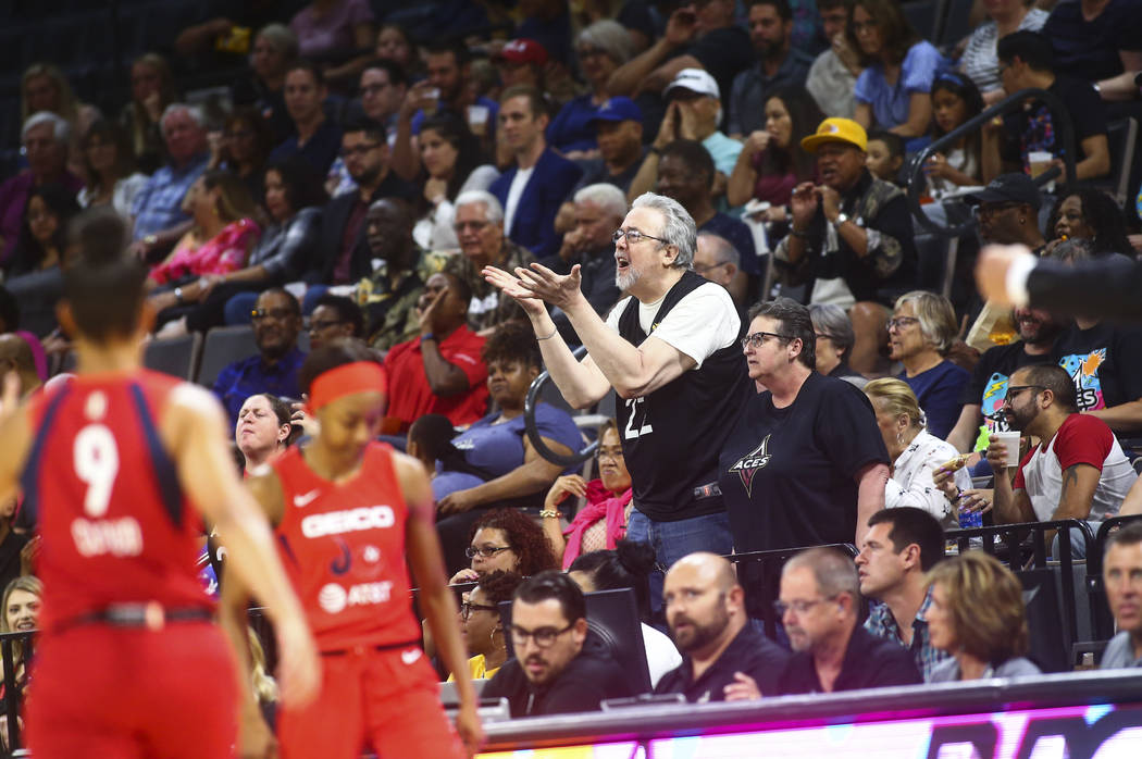 Las Vegas Aces fans react to a call during the first half of a WNBA basketball game against the ...