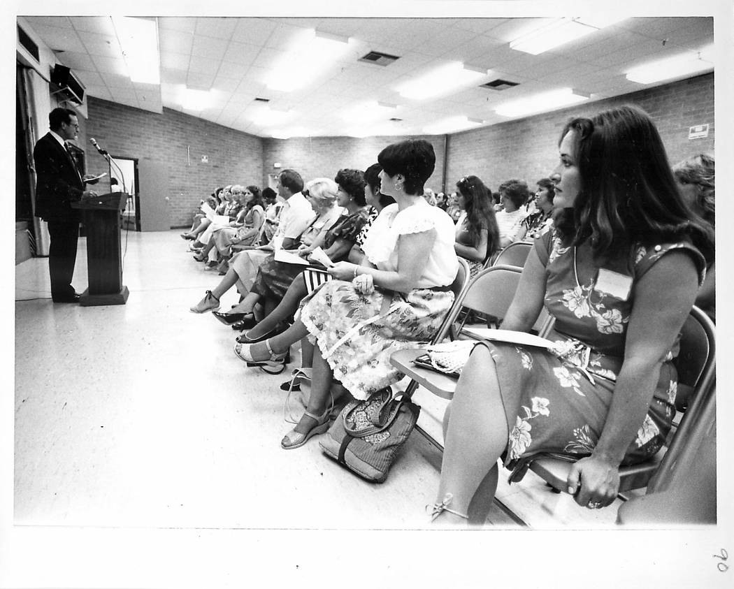 It's the first day back to work for the 1982-83 school year in the Clark County School District ...