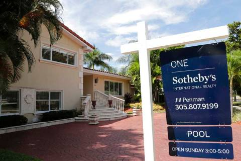 In a July 22, 2019, photo, a for sale sign is posted in front of a home in Miami. Mortgage buye ...