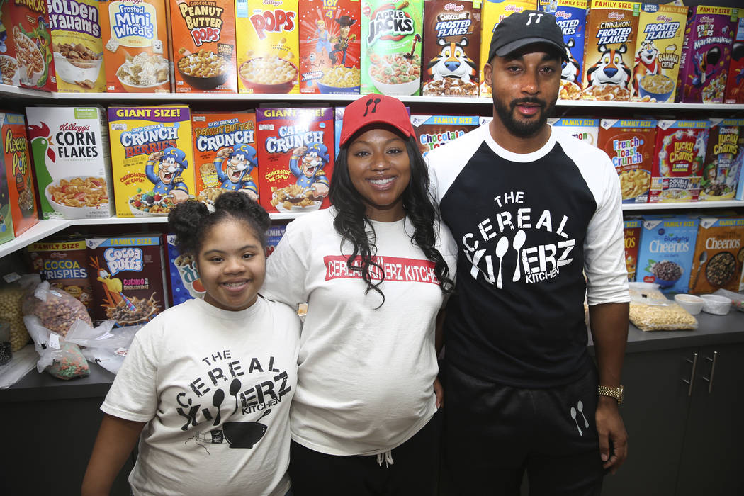 The Cereal Killerz Kitchen owners Chris Burns, far right, his wife Jessica, center, and daughte ...