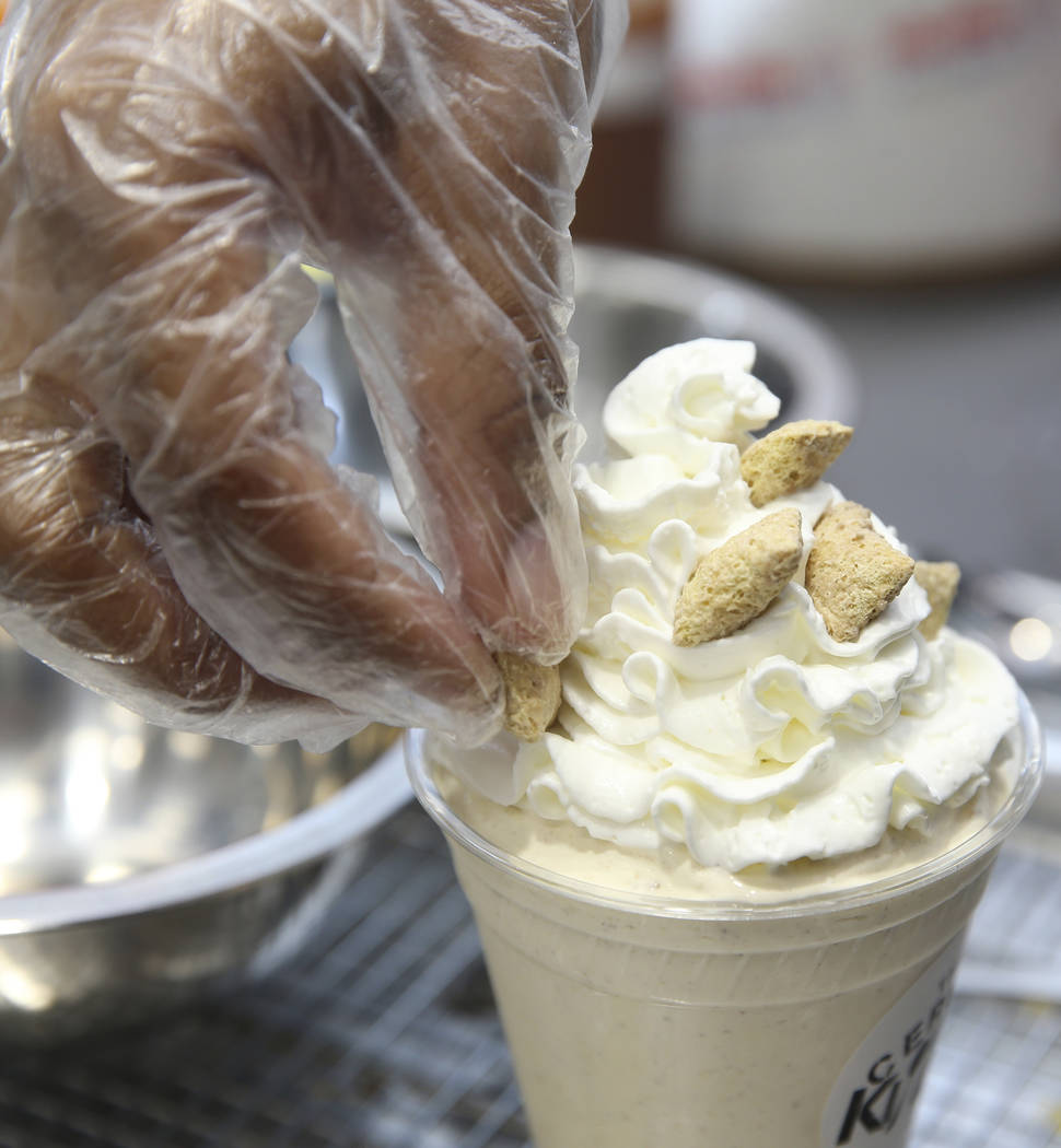 A brown sugar cinnamon pop tart shake is prepared at The Cereal Killerz Kitchen inside the Gall ...