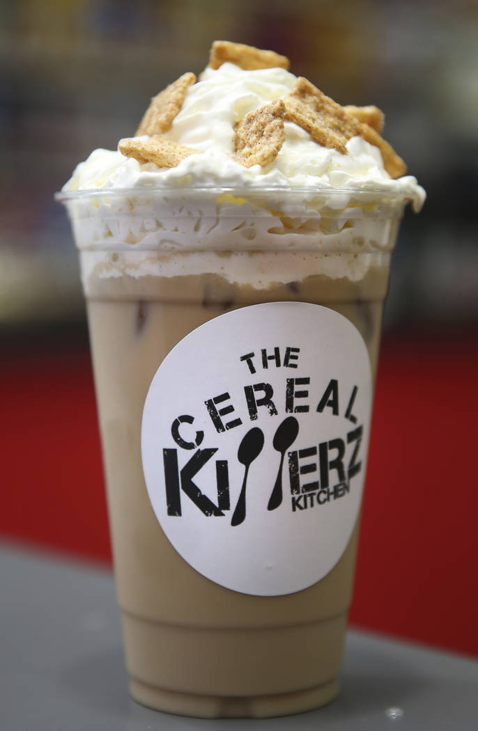 A cinnamon toast crunch ice coffee at The Cereal Killerz Kitchen inside the Galleria at Sunset ...