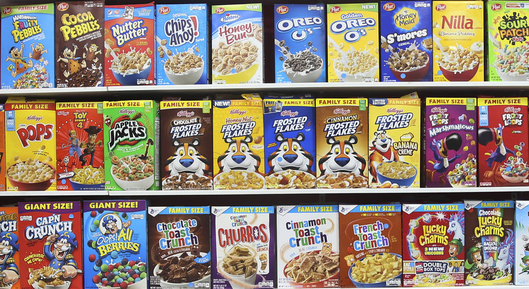 The Cereal Killerz Kitchen at the Galleria at Sunset mall in Henderson features a wall of cerea ...