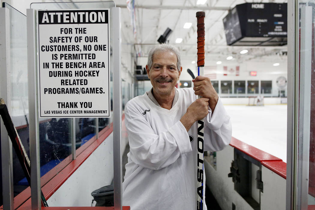Ronnie Ferrise, founder of Ronnie's Hockey Club, a pickup ice hockey league at the Las Vegas Ic ...