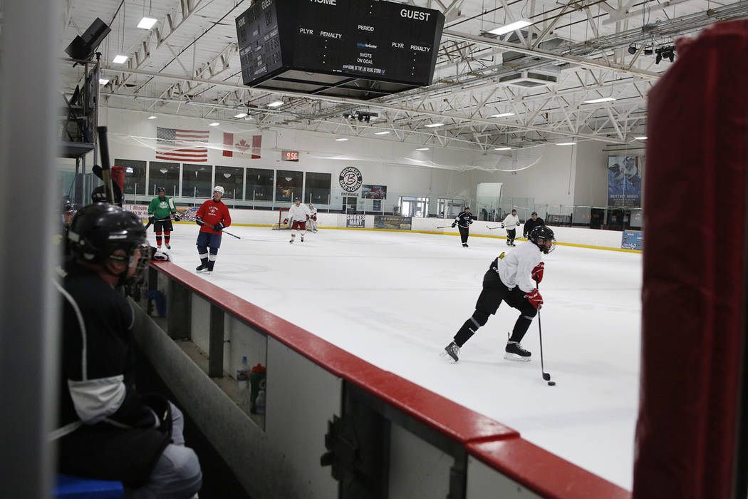 Ronnie's Hockey Club plays a pickup ice hockey game at the Las Vegas Ice Center in Las Vegas on ...