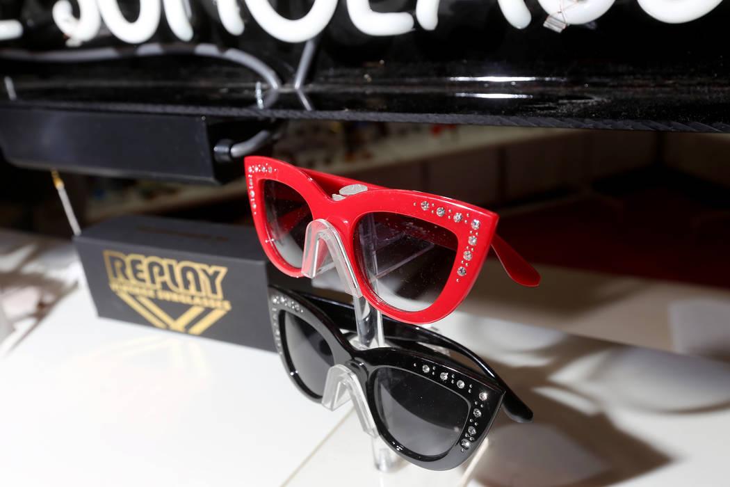 Vintage sunglasses at the Replay booth at the MAGIC fashion trade show at the Mandalay Bay Conv ...