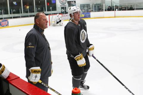Vegas Golden Knights head coach Gerard Gallant, left, and forward Jack Dugan during the team's ...