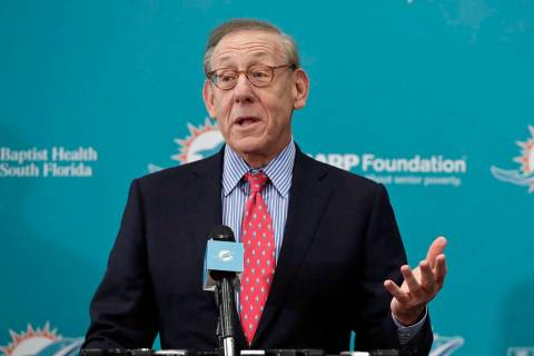 FILE - In this Feb. 4, 2019, file photo, Miami Dolphins owner Stephen Ross speaks in Davie, Fla ...