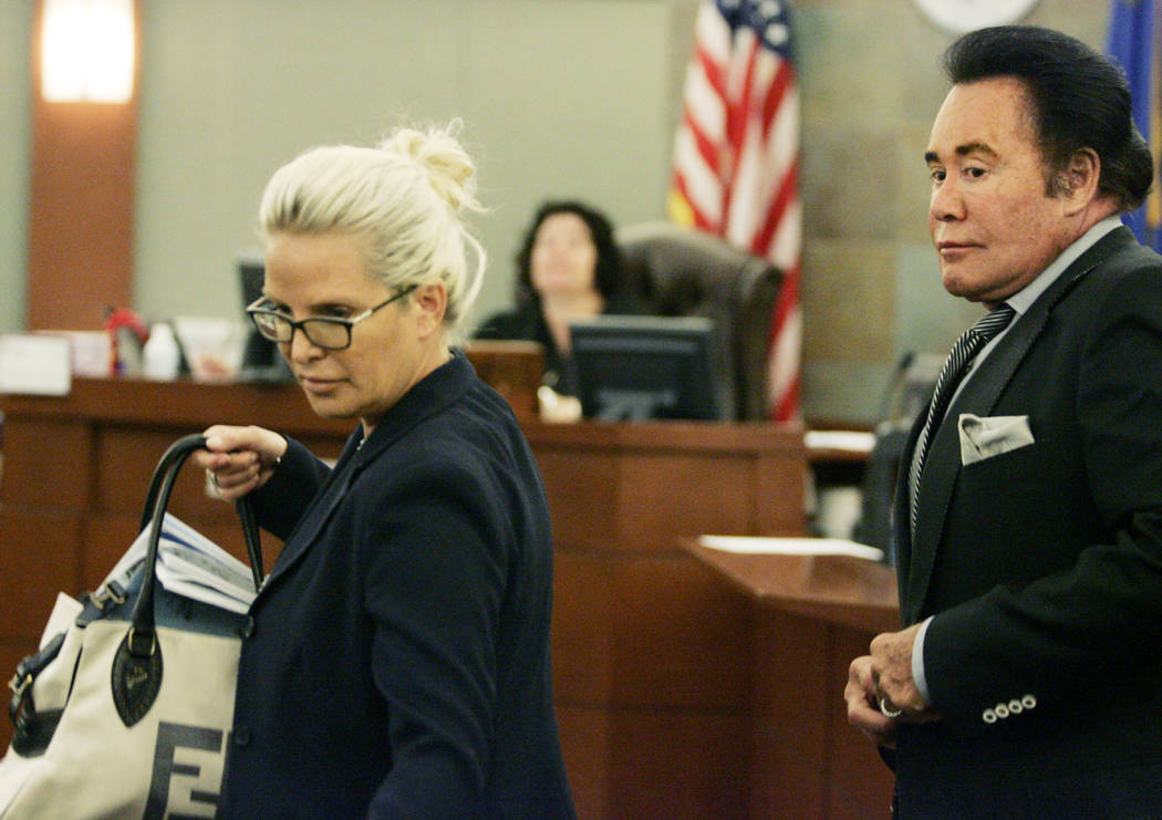 Kathleen Newton, left, and her husband, Wayne, leave the courtroom of Elizabeth Gonzalez at the ...